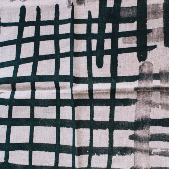 Linen tea towel / Checked pattern