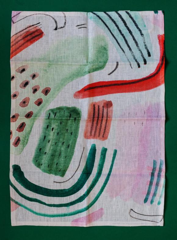 Linen tea towel / Flowers bloom