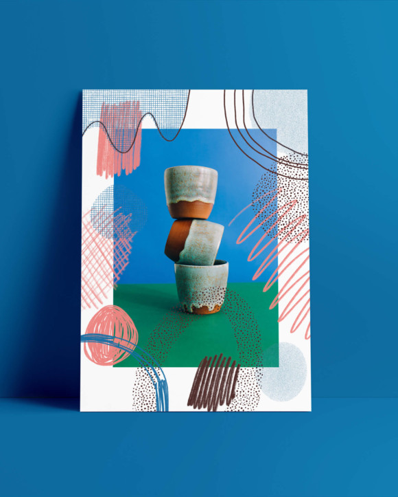 Green cup poster / print on paper