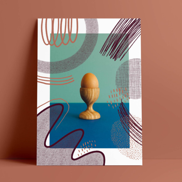 Egg cup poster / print on paper