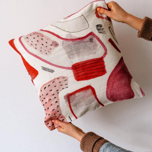 Linen pillow case / First cherry blossoms