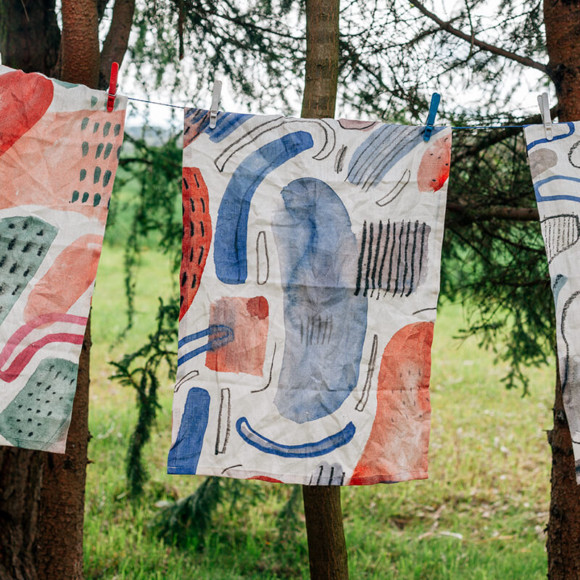 Linen tea towel / Pheasants start to call