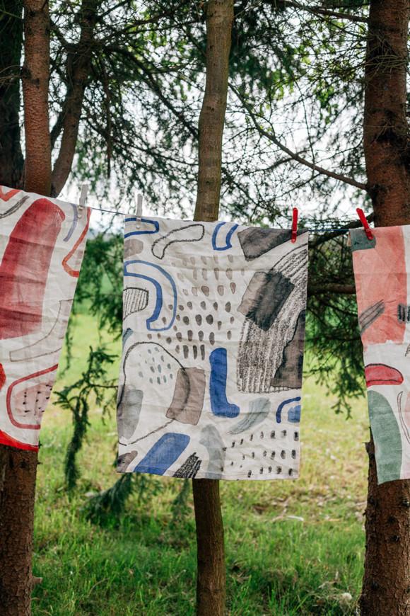 Linen tea towel / Great rains sometimes fall