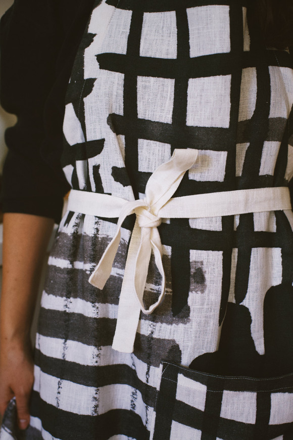 Linen Apron / Checked pattern