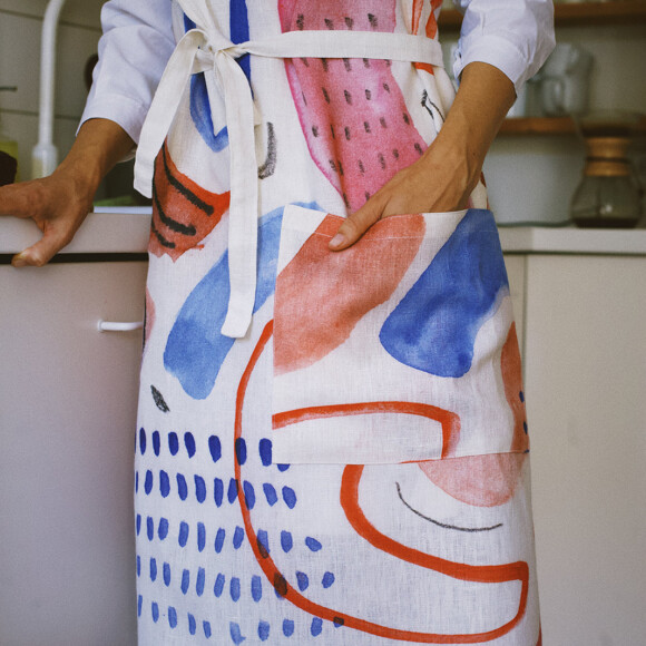 Linen Apron / First cherry blossoms