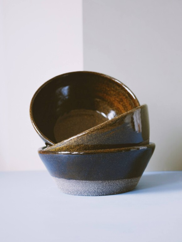 Black breakfast bowl / black clay