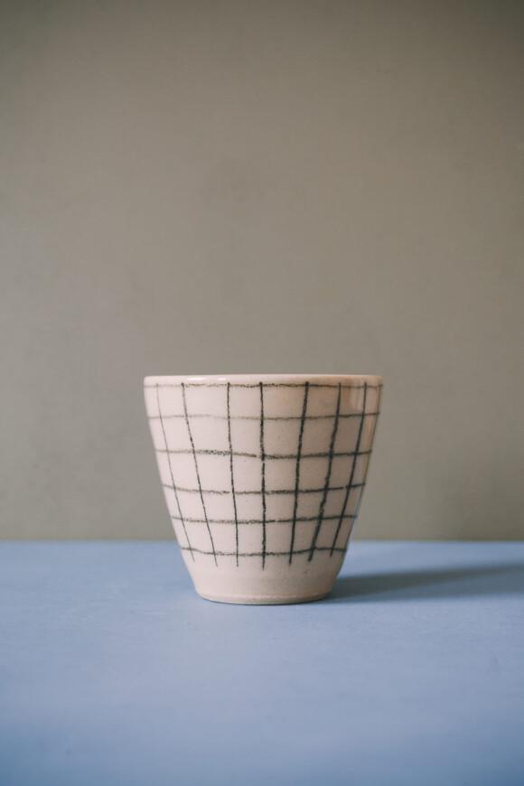 Checked coffee mug